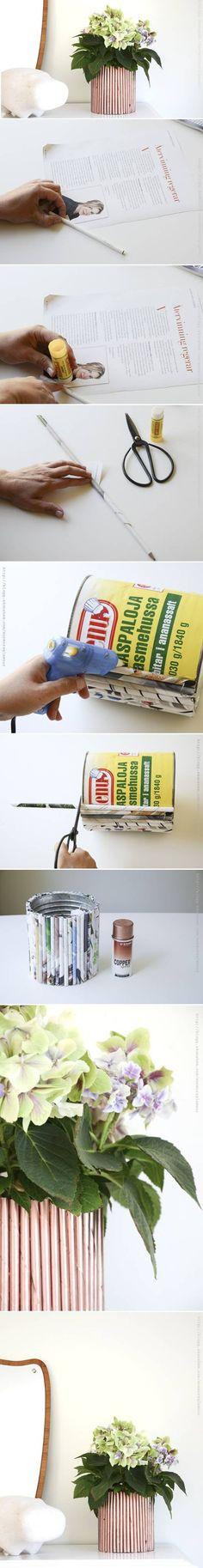 DIY Newspaper Decor Flower Pot DIY Newspaper Decor Flower Pot