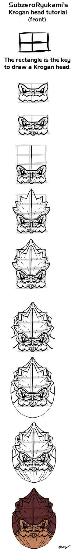 Krogan head (front) tutorial by Subzero-Ryukami.deviantart.com on @deviantART