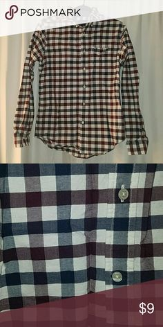 Men's plaid button down Colors are navy blue & maroon  Worn once Men's size Small = women's medium/large American Eagle Outfitters Tops Button Down Shirts