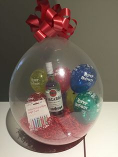 18 Crystal Clear balloon red shred filled with 5 happy birthday balloons with a Bacardi Rum and a store card gift inside. Balloon Arrangements, Balloon Decorations, Balloon Ideas, Best Birthday Gifts, Diy Birthday, Birthday Month, Ulta Gift Card, Clear Balloons, Dora