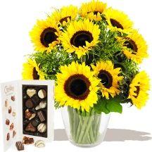 Summer Sunflowers & Chocolates A fabulous Sunflowers Bouquet #flowers