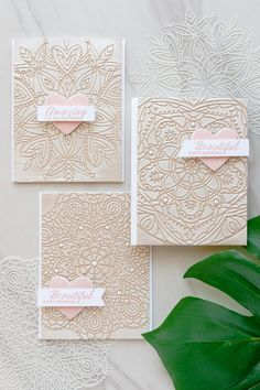 Textured Lace Cards using Star Medallion, Heart Mandala and Circular Lace stencils from Simon Says Stamp. Cards by Yana Smakula.