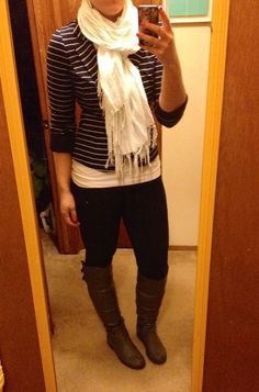 Stripes, boots, and a scarf - fall uniform