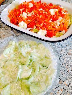 Feta and capsicum salad with cucumber,garlic and Greek yogurt salad