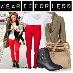 A budget friendly look inspired by Hilary Duff's street style.  This set costs $202 CDN!