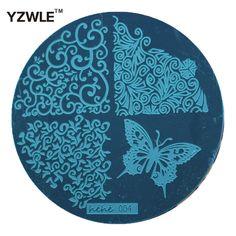 Yzwle 1 개 스탬핑 네일 아트 이미지 플레이트, 5.6 센치메터 스테인레스 스틸 네일 스탬핑 플레이트 템플릿 매니큐어 스텐실 도구 (Hehe-004)