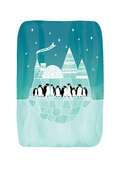 Penguins Art Print Animal Illustration South Pole by dekanimal, $18.00