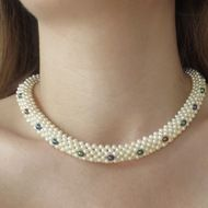 Dimensional Woven Pearl Necklace