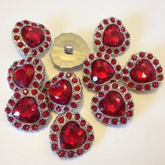 VALENTINE HEART Rhinestone Buttons qty 3 RED buttons by BeadEBoop, $2.85