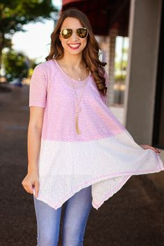 Out for Ice Cream Pink and White Tunic [ Ellieclothing.com ]
