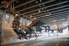 Xu Bing at Mass MoCA - 12 ton birds made of recycled construction equipment s