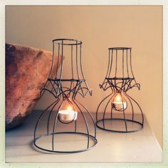 Hot plate lights made from old stripped lampshades