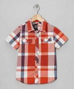 Take a look at this Orange Plaid Button-Up - Boys by Micros on #zulily today!