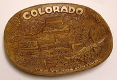 Colorado Bowl Top of the Nation Taco Plastic Carved Wood Like Souvenir Vintage