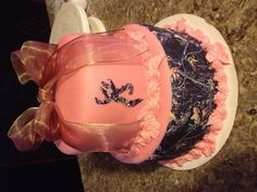 Pink real tree  camo cake