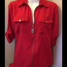MK Red Zip Blouse Super Cute P/M I wish it Fit me. super awesome Red Blouse  MK my favorite  Size Petite Medium Michael Kors Tops Blouses