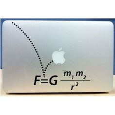 Newton's Law of Gravity computer decal. Geeky love!