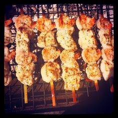 Beautiful day for a barbie! Can't wait to tuck into these prawn, monkfish, lime and ginger brochettes #Summer #Sunshine #Barbecue #BBQ #Lunch #EOTaste
