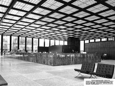 MIES VAN DER ROHE, the Dominion Center, Toronto, 1968. Barcelona-chairs also by MVDR, originally designed 1929. / facebook