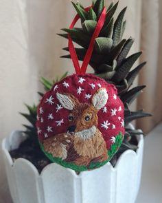 Оленёнок, вышивка, ёлочная игрушка, embroidery