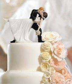 """Want to give the guests something to smile about? Our cute, whimsical and humorous cake toppers at AdvantageBridal.com will add some charm to your wedding cake and a dose of humor, like our """"high five"""" bride and groom or the cute couple sharing that they've tied the knot! But those are just a few"""