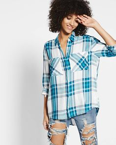 be30226ee40 turquoise plaid oversized convertible sleeve shirt Blue Button Up Shirt