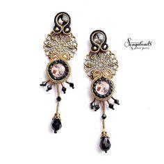 Long soutache stud earrings with a copper flower filigree.
