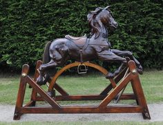 ~ Amazing Carved Rocking Horse, c. 1900 to 1940 England ~ onlinegalleries.com