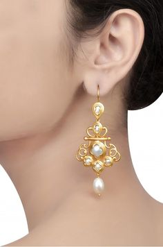 Silver Gold Plated Mughal Style Pearl Studded Floral Earrings
