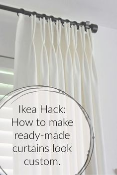 You don't have to spend a fortune on custom drapes…I'll show you how to make ready-made Ikea Ritva curtains look like expensive custom drapes. I think beautif… Ikea Curtains, Floor To Ceiling Curtains, Stenciled Curtains, Patchwork Curtains, Porch Curtains, Drop Cloth Curtains, Pleated Curtains, Window Drapes, Hanging Curtains