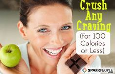 100-calorie craving busters! Sweet, salty, crunchy, creamy--we've got it all! | via @SparkPeople #food #diet #snack #recipe #treat #healthy