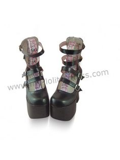Black Four Straps High Heels Lolita Shoes