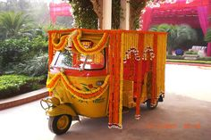 Indian wedding decorations, an auto used as a paltan to bring the bride
