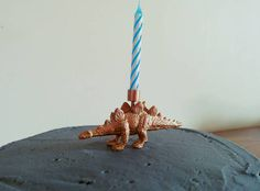 Do you fancy a birthday candle with a difference this year? Or know someone who would? Everyone loves a dinosaur!  For sale is a copper painted dinosaur (a stegosaurus!) figure birthday candle holder, including one blue striped candle as shown. The candle holder can be reused over and over, as it fits a regular sized slim birthday candle.  I have other dinosaurs for sale and different animals, plus some other party supplies and home decor. Check it out! Etsy.com/UK/shop/coppers...