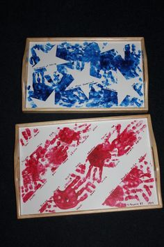 Preschool project for the auction. I masked off the stripes with painter's tape and the stars with contact paper. Craft paint, toothpick to write names, several coats of clear spray paint and they are done! Preschool Projects, Daycare Crafts, Baby Crafts, Craft Activities, Preschool Crafts, Toddler Activities, Kids Crafts, 4th July Crafts, Fourth Of July Crafts For Kids