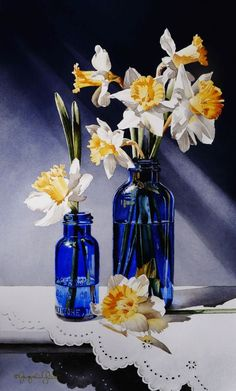 """Daily Paintworks - """"Still Life with Daffodils & Cobalt Glass"""" - Original Fine Art for Sale - © Jacqueline Gnott Watercolor Flowers, Watercolor Paintings, Original Paintings, Watercolors, Original Art, Still Life Flowers, Cobalt Glass, Black Aesthetic Wallpaper, Still Life Art"""