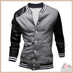 f84be8a758f8 2016 New Fashion Men Casual Fleece Baseball Jacket Varsity Coat Jackets PU  Leather Sleeve Patchwork Coats Manteau Homme. Patma Sports