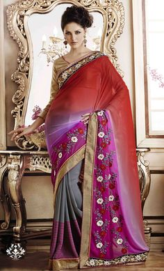 Red Georgette Party Wear Saree 47568