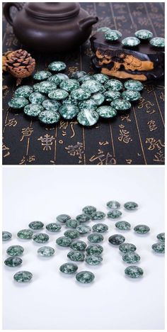 Moss agate stone beads for weiqi, go game, chinese chess. Double sides: 22x10mm