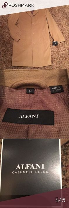 Alfani wool/cashmere coat MED, tan, NWT. 38 inch long button up coat. Sleeves 24.5 inches. Fully lined ,2 inside breast pockets . 2outside slit pockets , 1 breast pocket  on left side Alfani Jackets & Coats
