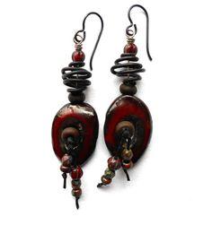 Rustic Bohemian Earrings Earthy Ceramic Rusty Red by SheFliesAgain