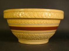 yellow ware antique bowl; we called these cream crocks at my childhood home because we put the cream Mom skimmed off the top of the fresh milk in them.