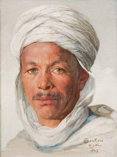 Emile Deckers (1885-1968). 'Mohammed Ben Gana'. Oil on canvas, 32 x 25cm. Alger 1942.