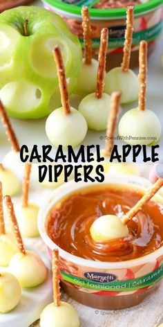 Mini Caramel Apple Dippers are the perfect fall treat! Little bits of tart apple with crisp pretzel sticks dipped in a thick rich caramel sauce.