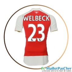 Maillot foot Arsenal rouge WELBECK 23 Domicile 15 2016 2017