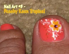 These toes are decorated perfectly for a spring outfit! Add a pretty anklet and your feet will look peachy keen - Jelly Bean! Comment be. Pedicure Designs, Toe Nail Designs, Nail Polish Designs, Pedicure Ideas, Nails Design, Toe Nail Art, Toe Nails, White Toenail Fungus, Tropical Nail Designs