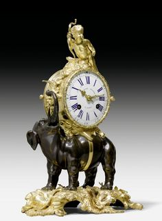 "MANTEL CLOCK ""A L'ELEPHANT"",  Louis XV, the dial and movement signed ETIENNE LE NOIR A PARIS,  the bronzes from a Paris master workshop, circa 1750."
