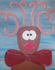 We bring the party to you and Kansas City painting parties that are fun, affordable and happen on your time, wherever you want! We provide all the supplies! - Rudolph painting by Apple Pie Painting Painting Parties, City Painting, Pta, Paint Party, Apple Pie, Kansas City, Shit Happens, Apple Cobbler, Apple Cakes