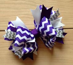 Purple white chevron botique stacked hair bow by YarnzieEvermore