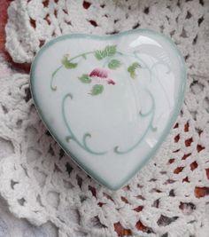 Sweet Hand Painted Heart Porcelain Trinket Box by Scentedlingerie, at etsy